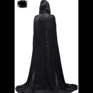 Unisex Hooded Cape Long Velvet Cloak with Hood New